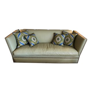 Vintage Lime Leather George Smith Knole Style Sofa For Sale