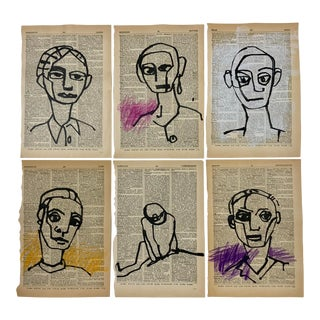 Contemporary Abstract Figurative Pen and Ink Portrait Drawings on Vintage Paper - Set of 6 For Sale