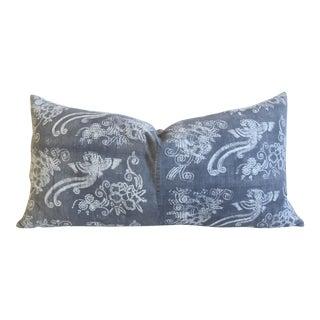 "Jumbo Gray & White Batik Chinoiserie Feather/Down Body Lumbar Pillow 39"" X 20"" For Sale"
