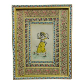 "Vintage Mid-Century Kate Greenway ""Yellow Dress - Little Girl"" Framed Original Print For Sale"