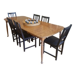 Ethan Allen Vintage Maple Expandable Dining Table For Sale