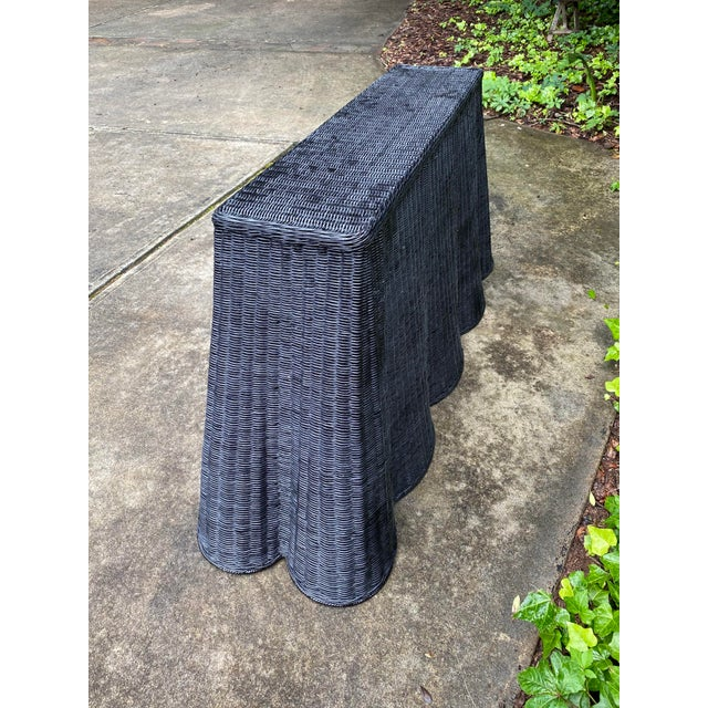 2010s Natural Rattan Trompe l'Oeil Console Tables in Black For Sale - Image 5 of 13