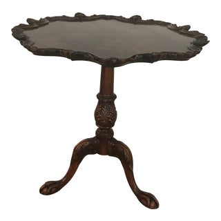 Vintage Pie Crust Burled Round Three Leg Paw Foot Table For Sale