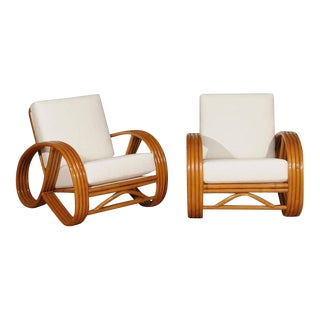 Outstanding Pair of Restored Vintage Pretzel Loungers with Adjustable Back