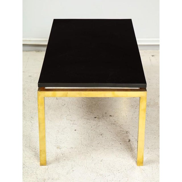 Modern Modern Coffee Table With Lacquered Top on Brass Base For Sale - Image 3 of 7