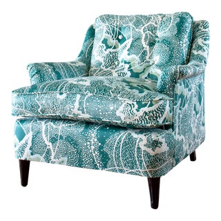 Vintage Upholstered Club Chair With Abstract Fabric For Sale