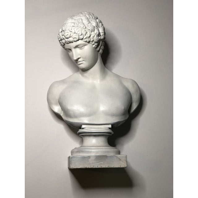 White 1940s Vintage Neoclassical Style Plaster Bust of Apollo Sculpture For Sale - Image 8 of 12