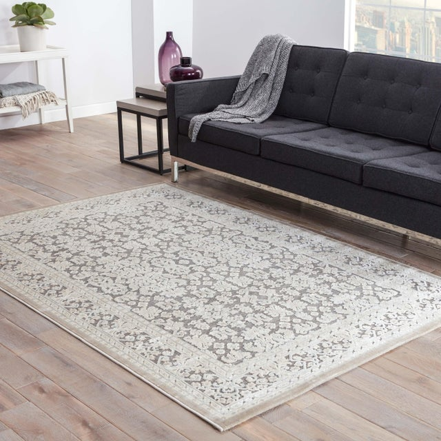 """2010s Jaipur Living Regal Damask Gray & White Area Rug - 9'6"""" X 13'6"""" For Sale - Image 5 of 6"""