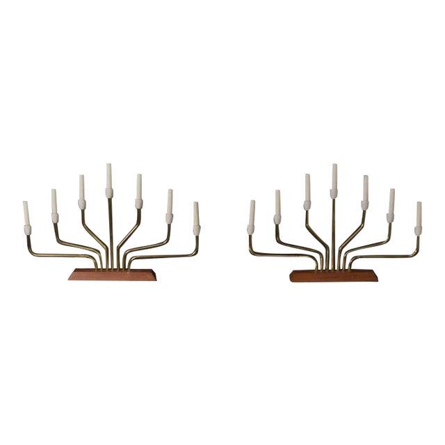 Pair of Danish Modern Menorah Table Lamps For Sale