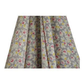 Antique 1910s French Light Weight Small Scale Floral Cotton Roller & Block Fabric For Sale
