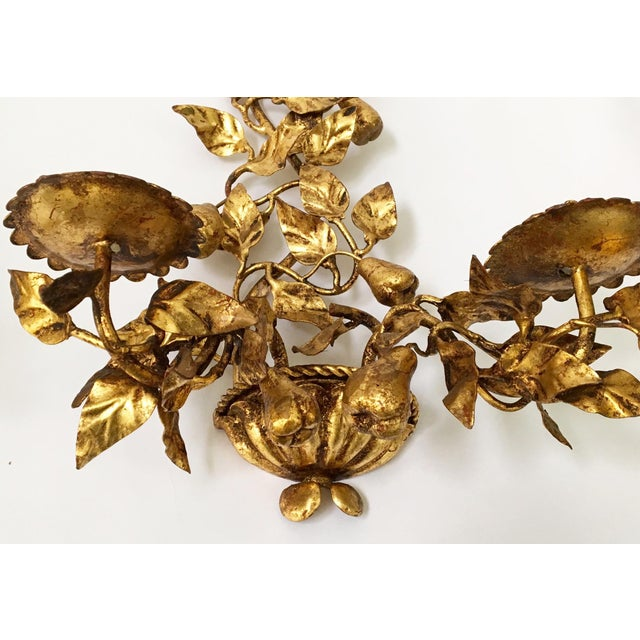 Italian Gold Gilt Tole Sconce Candle Holders- a Pair - Image 5 of 8