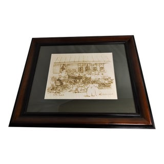 Early Elizabeth Luallen Original Ink on Rag Paper Framed Art,1980 For Sale