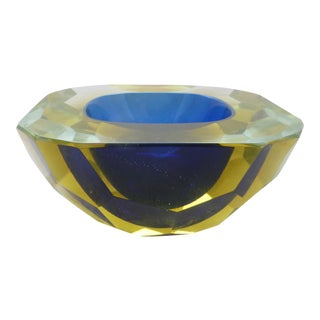 1970s Alessandro Mandruzzato Faceted Sommerso Murano Glass Bowl