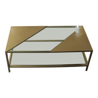 Modern Brass & Glass Coffee Table For Sale