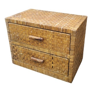 Vintage Coastal Boho Chic Organic Modern Woven Rattan Chest of Drawers For Sale