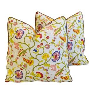 "Designer Raoul Textile Floral Feather/Down Pillows 21"" Square - Pair For Sale"