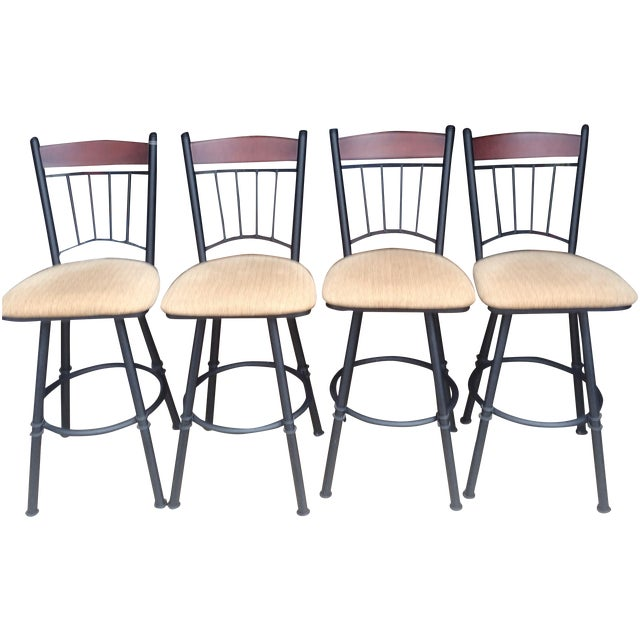 Swivel Metal Bar Stools With Cushion - Set of 4 - Image 1 of 7
