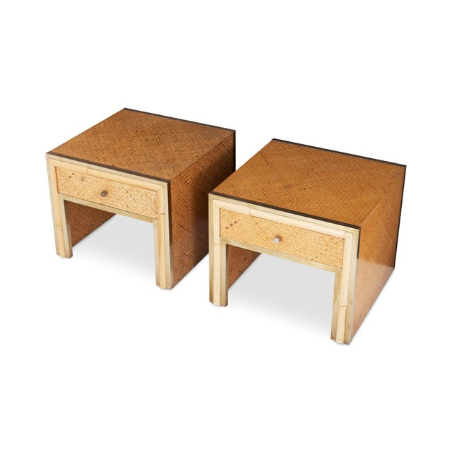 1970s Brass and Wicker Vivai Del Sud Pair of Night Stands or Side Tables For Sale - Image 5 of 9