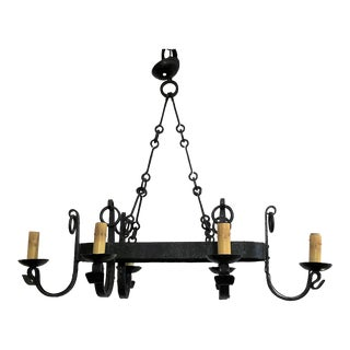 Antique French Late 19th Century Old Wrought Iron Chandelier For Sale