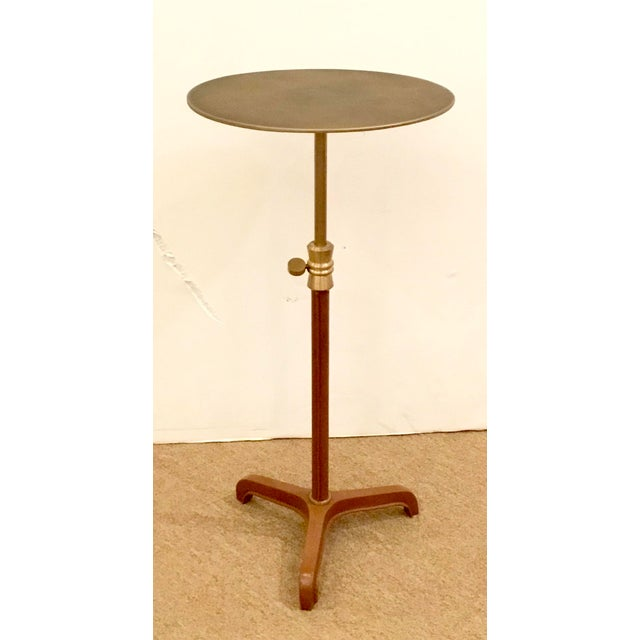 Arteriors Home Arteriors Home Modern Leather and Antique Brass Addison Adjustable Accent Table For Sale - Image 4 of 4