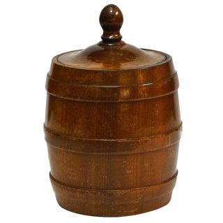 Wooden Tobacco Jar From 1920s Belgium For Sale
