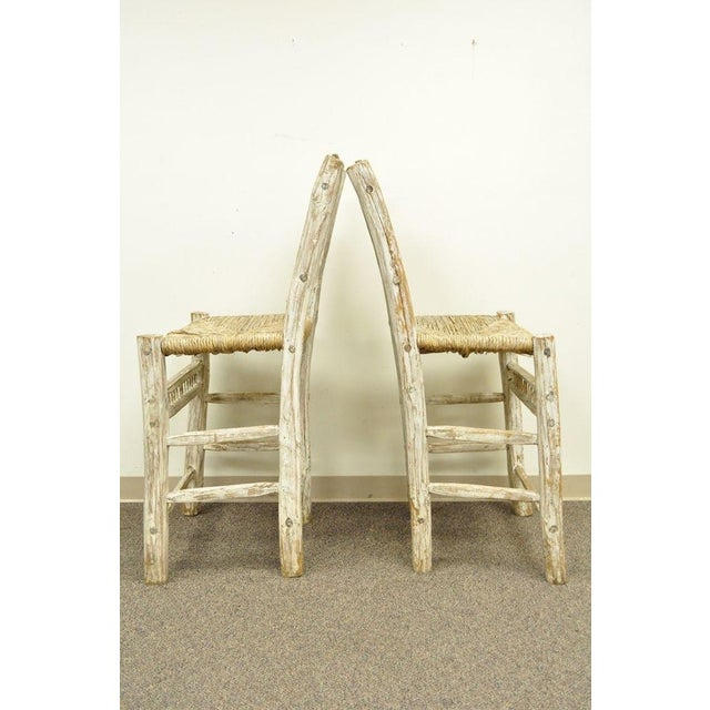 2 Rustic Country Log Cabin Wood Branch Rush Seat Bar Stools Chair Hickory Style For Sale - Image 5 of 11