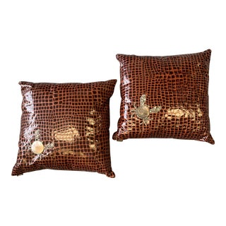 20th Century Contemporary Ankasa Faux Crocodile Embellished Pillows - a Pair For Sale