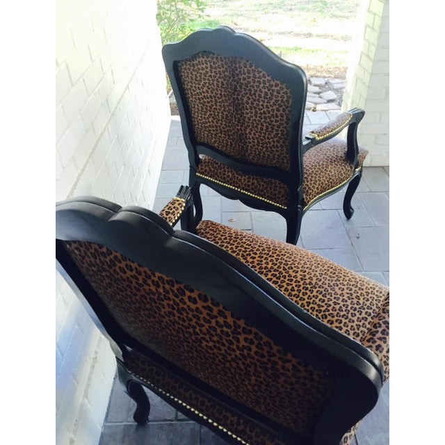 "French Black Lacquered ""Leopard"" Armchairs - Pair - Image 7 of 9"