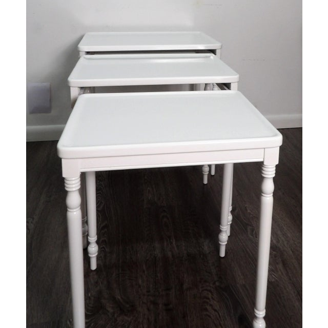 2000 - 2009 Contmemporary Wood Nesting Tables in Fresh White Lacquer Finish - Set of 3 For Sale - Image 5 of 6