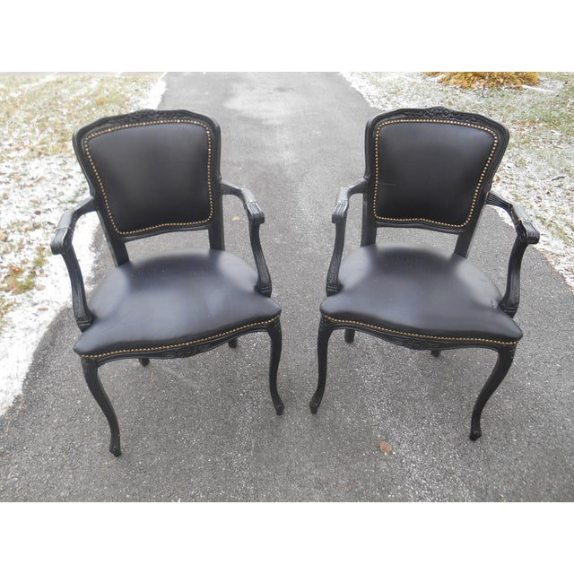 Animal Skin 20th Century French Louis XV Style Black Leather Bergere Chairs - a Pair For Sale - Image 7 of 7