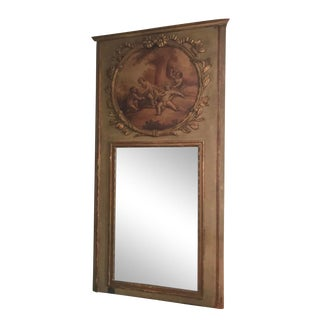 1940s Antique Trumeau Mirror For Sale