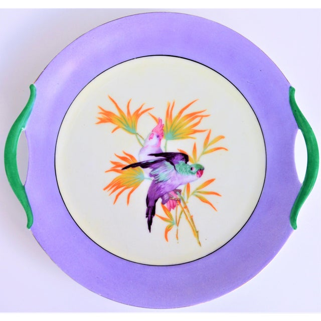 Art Deco Antique Lilac Moschendorf Bavaria Cake Plate With Parrots For Sale - Image 3 of 10