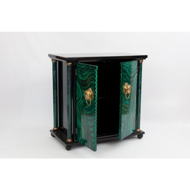 Art Deco Faux Malachite Cabinet For Sale - Image 5 of 5