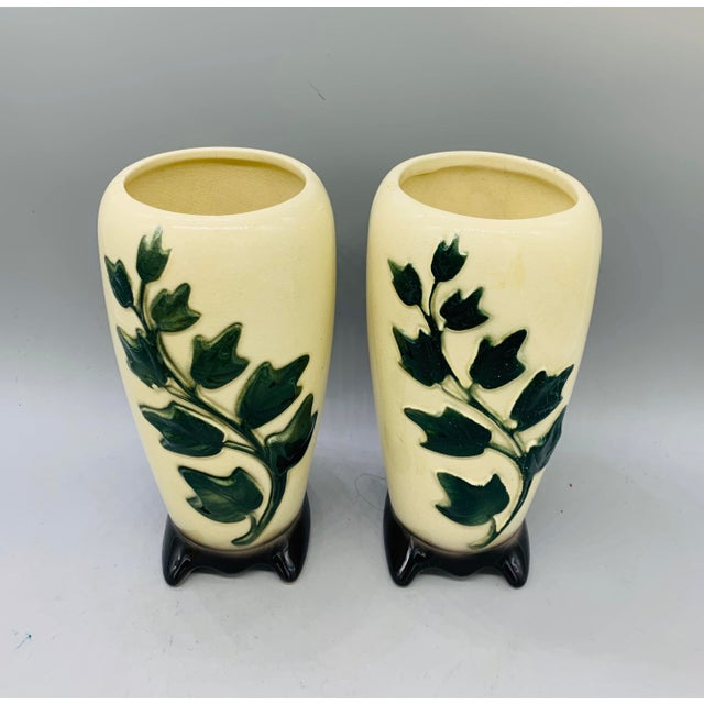 Airbrush 1950's Vintage Royal Copley Ivy Vases - a Pair For Sale - Image 7 of 11