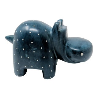 African Hand Carved Hippopotamus in Soapstone For Sale