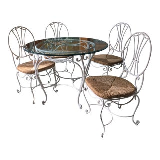 1980's Wrought-Iron Patio Dining Set - 5 Pieces For Sale