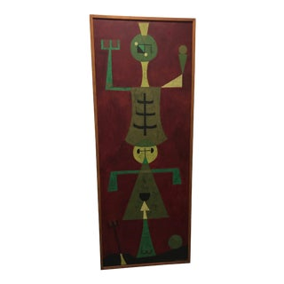 1950s Vintage Jorge Camacho Cuban Modern Oil on Canvas Figural Abstract Painting For Sale