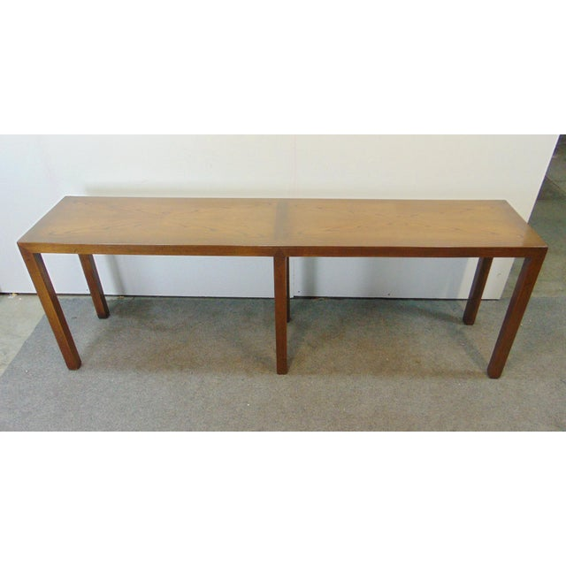 Brown Beacon Hill Mid-Century Oak Parsons Console Table For Sale - Image 8 of 8