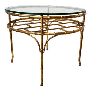 Gilt Metal Faux Bamboo Coffee Table For Sale