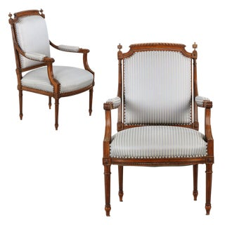 Louis XVI Style Carved Walnut Arm Chairs- A Pair