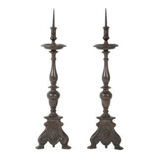 Italian Baroque Bronze Candlesticks - A Pair For Sale