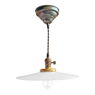 Early 20th Century Milk Glass Pendant Light Fixture For Sale