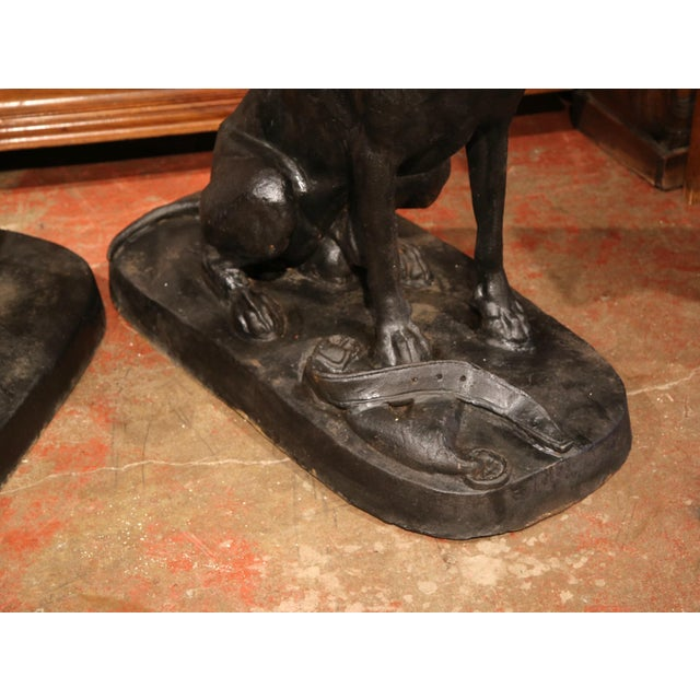 Brown Pair of Lifesize French Iron Hunting Labradors Retrievers after Jacquemart For Sale - Image 8 of 10
