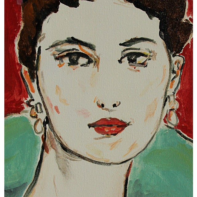 Painting of a lady. She looks at the viewer directly and confidently, a large collar in aqua green surrounding her...