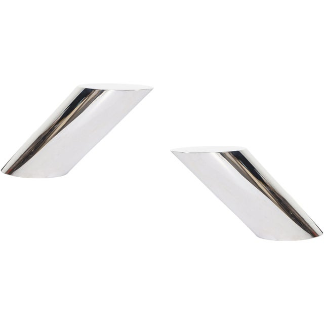 """Brueton Polished Steel """"Zephyr"""" Table by J. Wade Beam - a Pair For Sale - Image 13 of 13"""