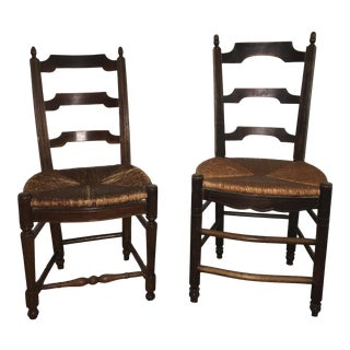 1930s Antique French Oak Chairs With Original Hand Woven Seat - a Pair For Sale