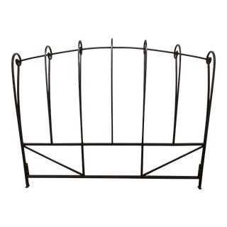 Hollywood Regency Style Scrolled Iron Queen Size Headboard For Sale