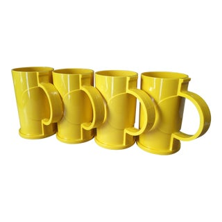 Vintage Dansk Designs Gunnar Cyren Yellow Handle Mugs - Set of 4 For Sale