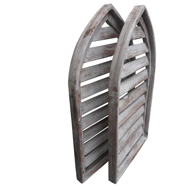 Pair Rustic Gray Distressed Cathedral Slatted Shutters Shabby Cottage Windows For Sale - Image 4 of 6