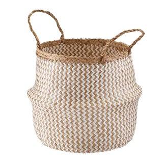 Large Zig Zag Sea Grass Belly Basket For Sale